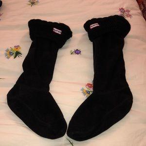 Black HUNTER tall fleece socks